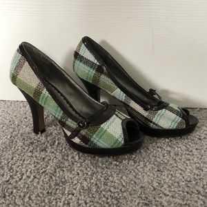 Madden Girl Plaid Peep-Toe Heels